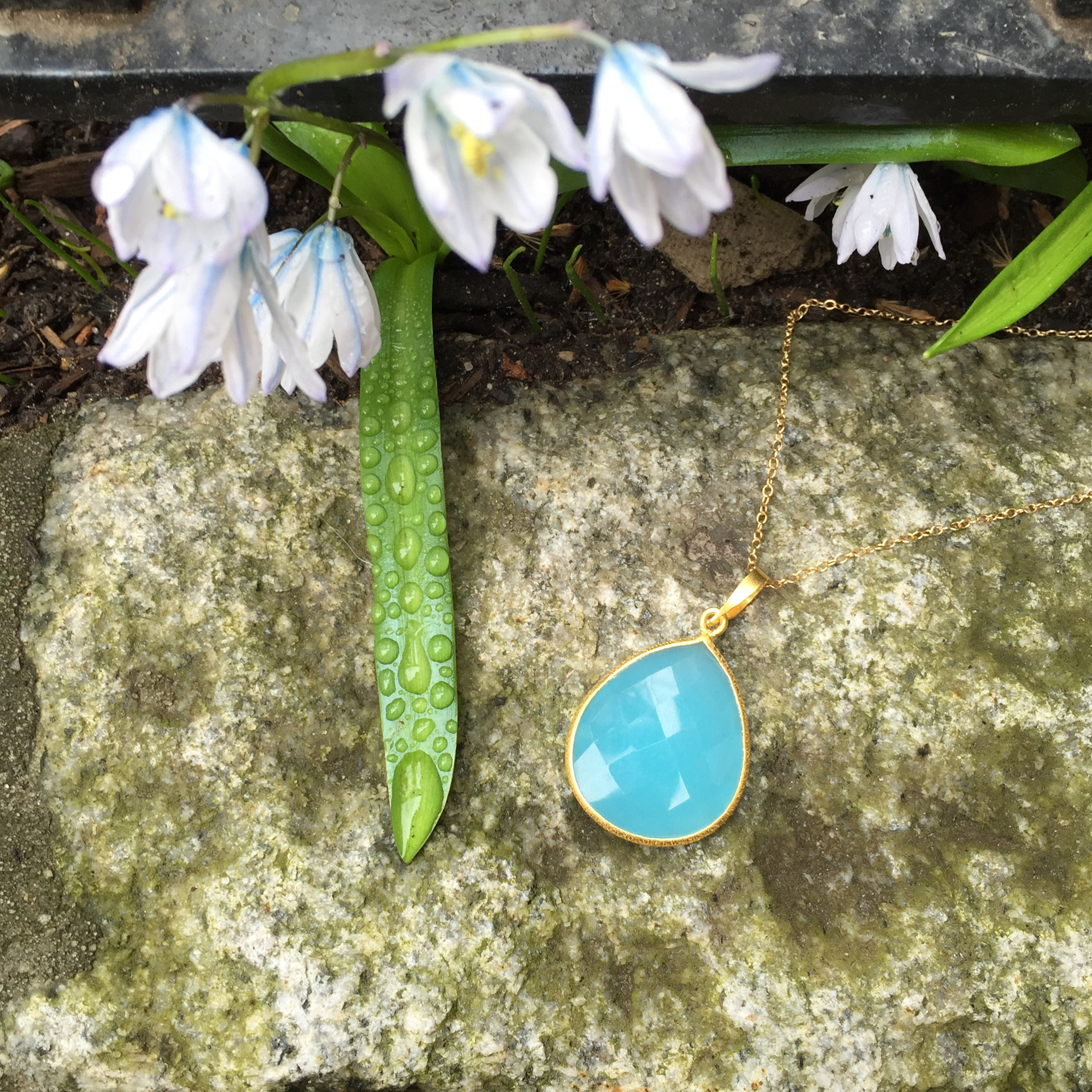 Blue Chalcedony Pear Long Necklace