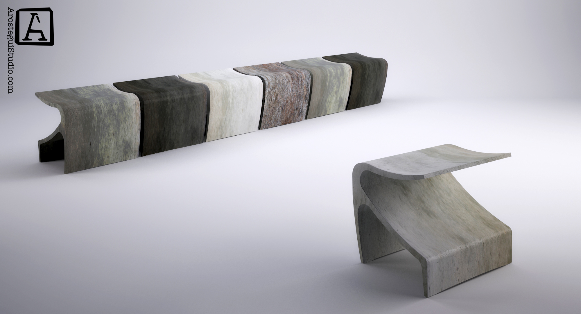 The Sofi bench, Ductal, UHPC (concrete)- ©2015 Arostegui Studio