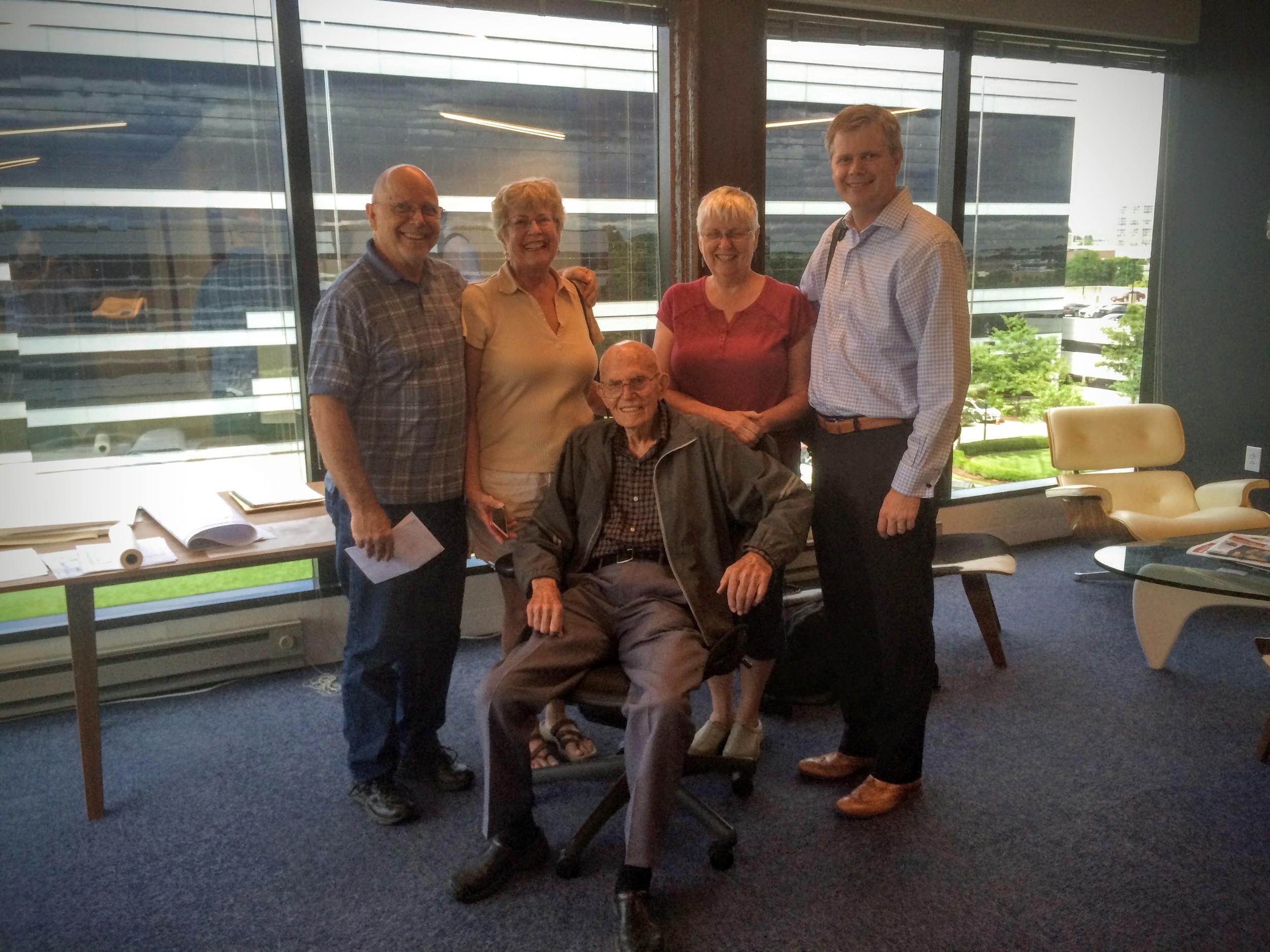 Grandpa Elliott visiting Vessel's office at 103 years old!