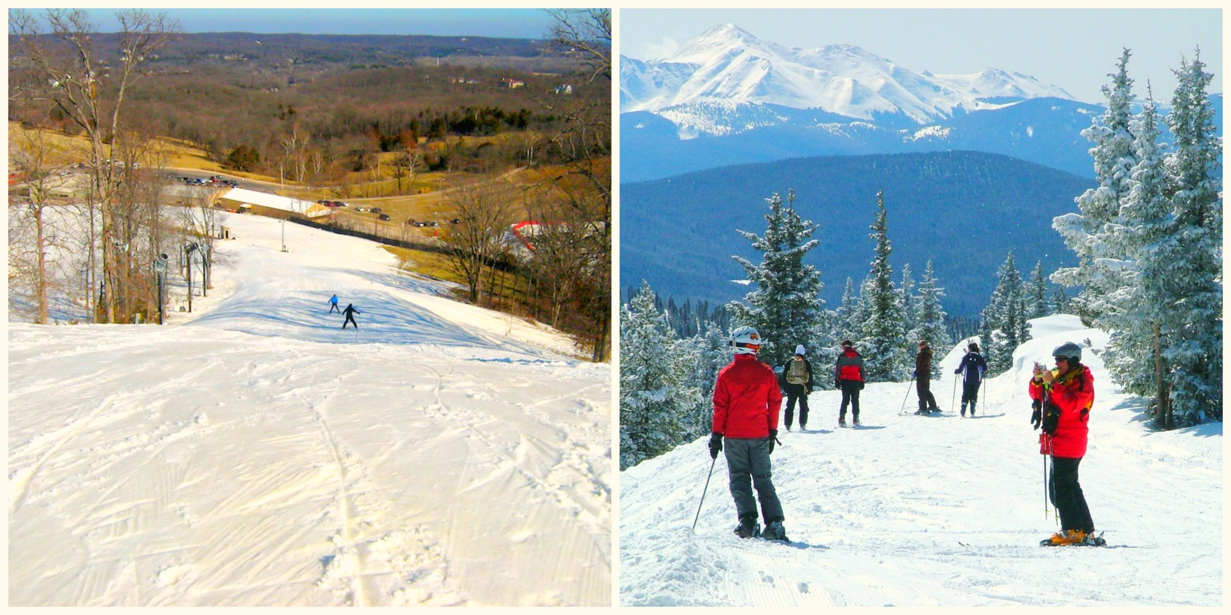 Although Sara and husband Ed are thrilled to be back in St. Louis (they met while completing their undergrad at Wash U) they will surely miss the sunny slopes of Colorado.Lucky for St. Louis, we have Hidden Valley...that's totally the same thing, right?  (Left)Hidden Valley Ski Resort, Missouri (Right)Pretty much every ski resort in Colorado