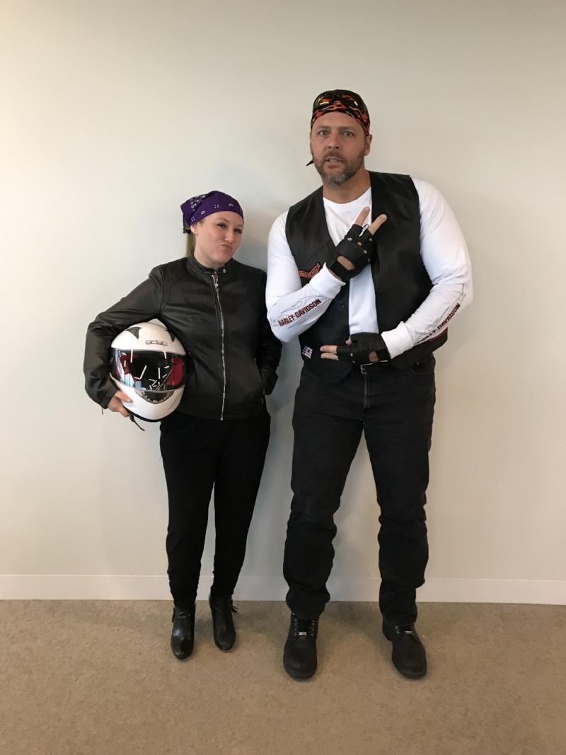 Sarah & Kurt as the Biker Gang