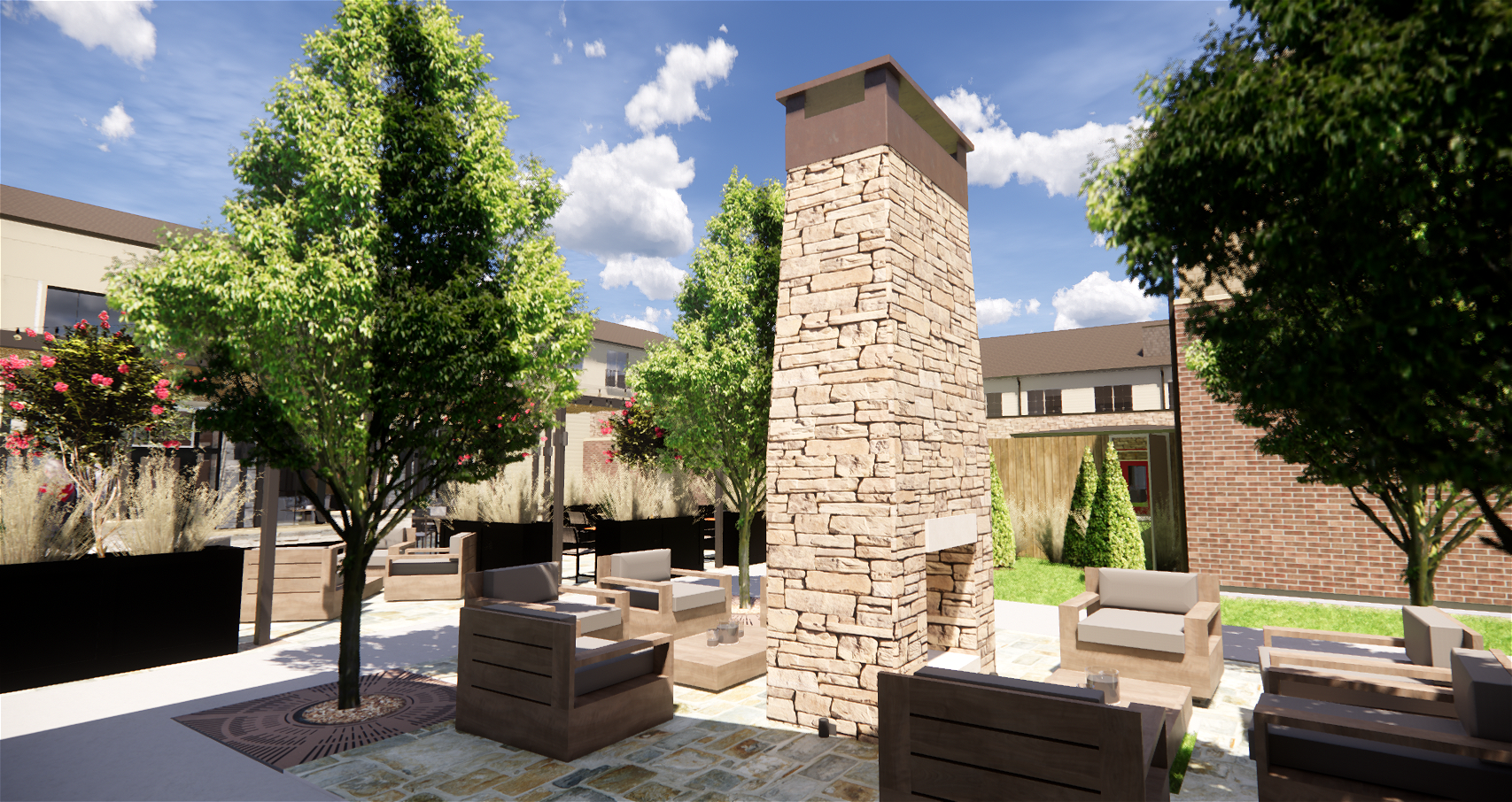 Algonquin Independent Living, Assisted Living & Memory Care Outdoor Fireplace.png