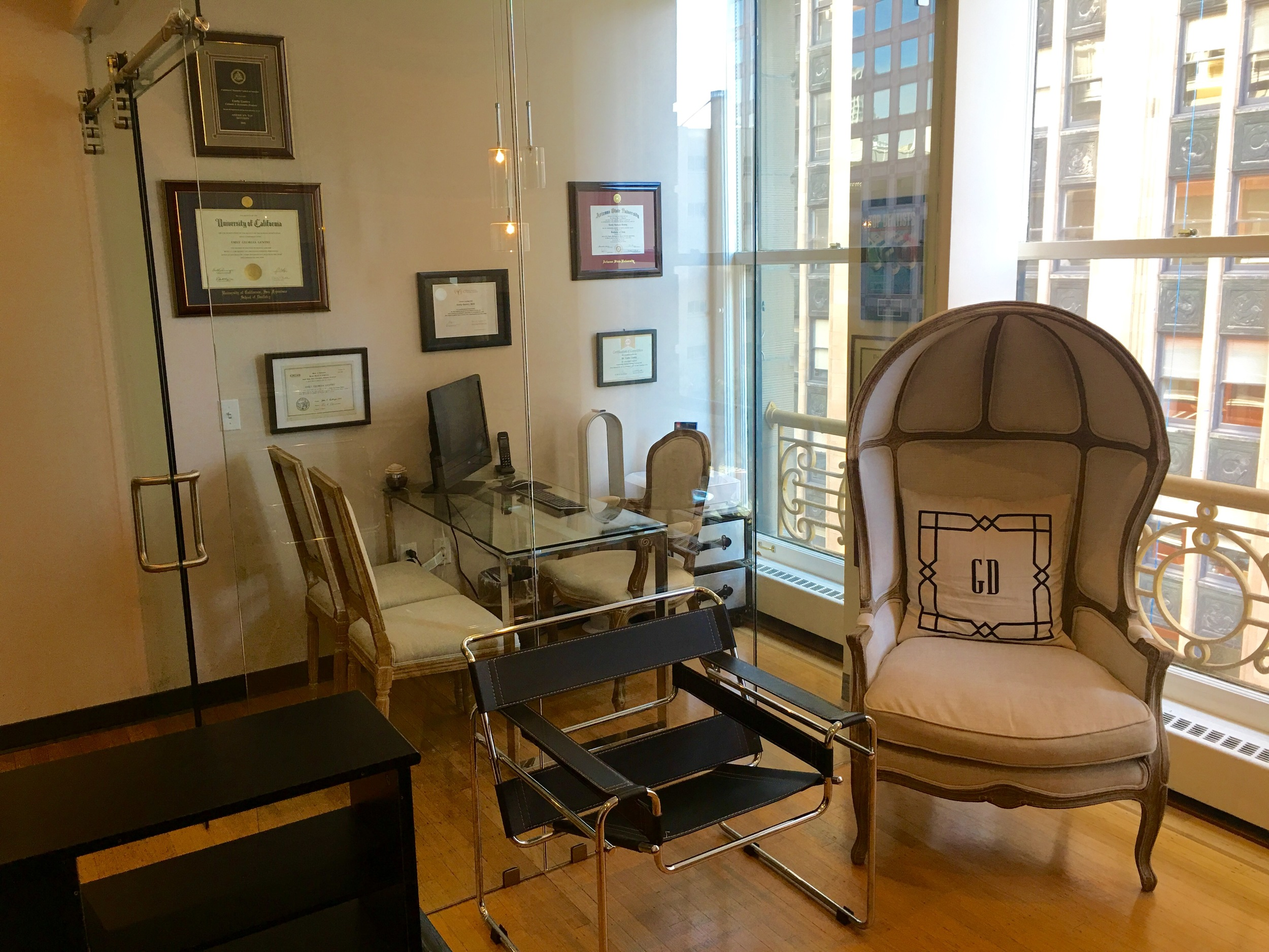 Consult room with glass walss in our San Francisco dental office