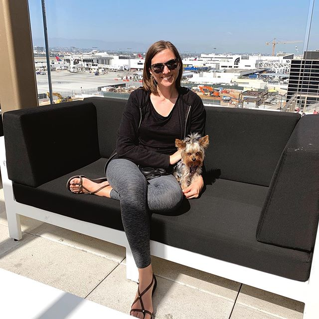 We are soaking up every ounce of the California sunshine until we board our flight. We're not quite ready to go back.. the west coast might be the best coast after all 😍 this will be Rupee's longest flight so far. Next stop ➡️ Munich  #travelcompanion #traveltheworldtoday #airportlounge #readyornot #goinghome #travelday #yorkiesofig #yorkiesofficial #laxairport #thisis31 #outdoorpatio #expatlife #expats