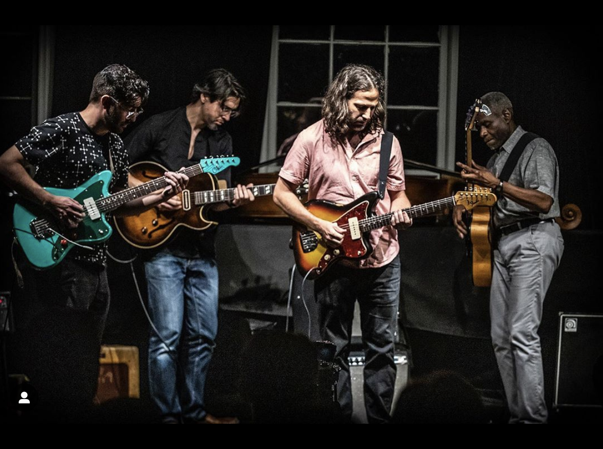 "Guitarists Nick Millevoi, Miles Okazaki and Jonathan Goldberger, alongside bassist Jerome Harris. Sound It Out's ""Monk on Guitars 2"". Greenwich House Music School, June 25, 2019. (Photo: Wes Orshoski)"