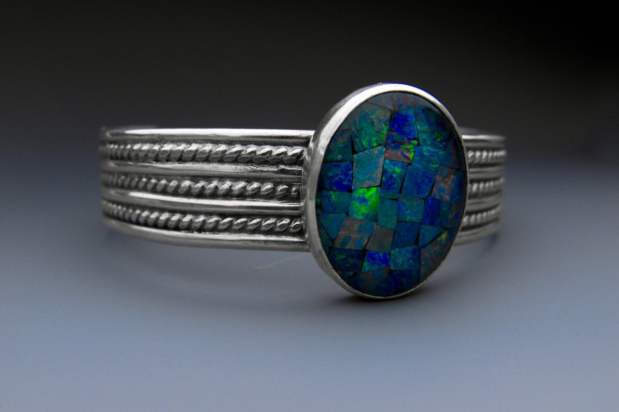 handmade+sterling+silver+opal+bracelet