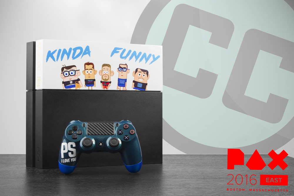 Custom Kinda Funny PS4 hdd cover and PS I Love you XOXO Controller