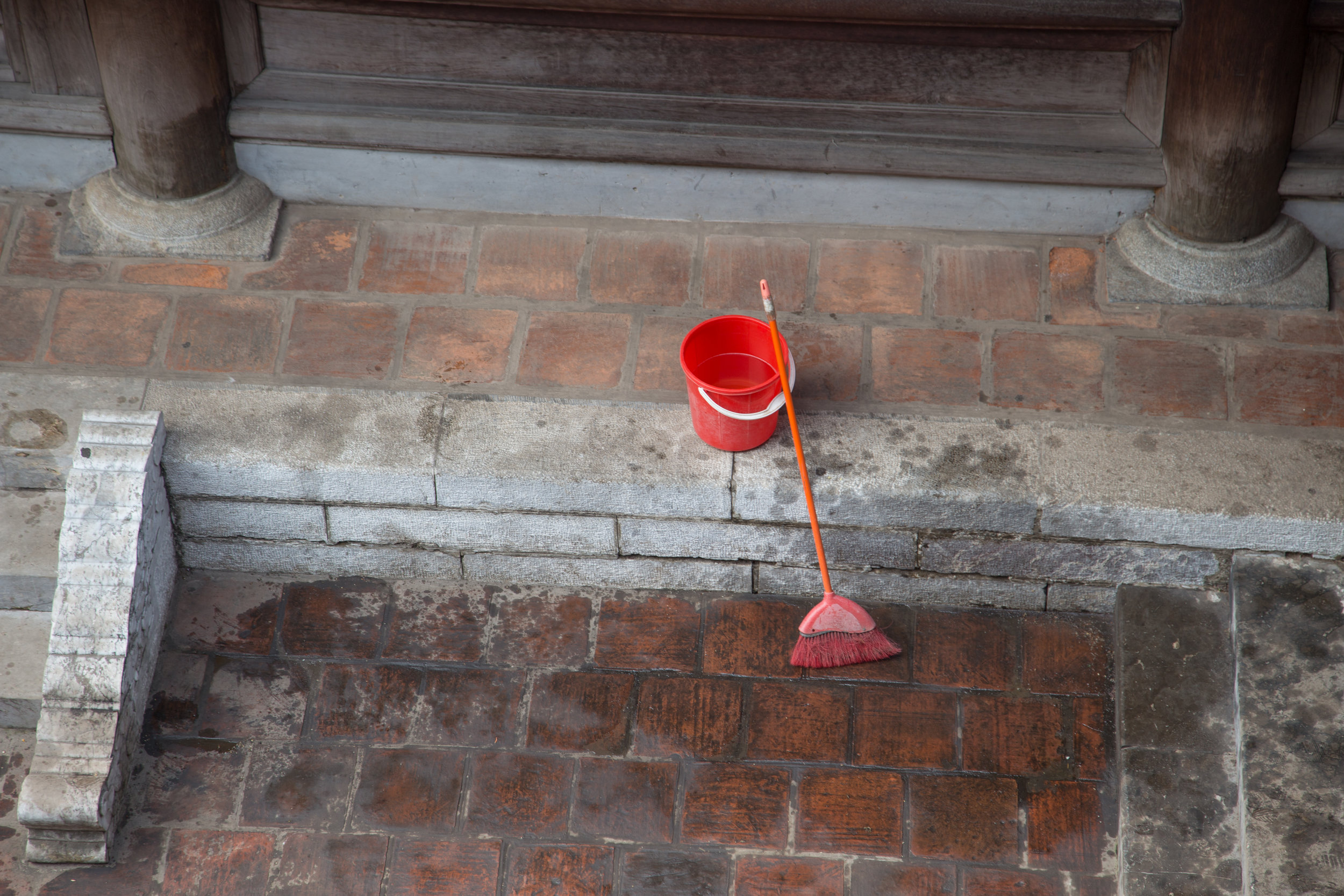 Cleaning up, The Temple of Literature, Hanoi, Vietnam, 2018 Copyright Monica d. Church