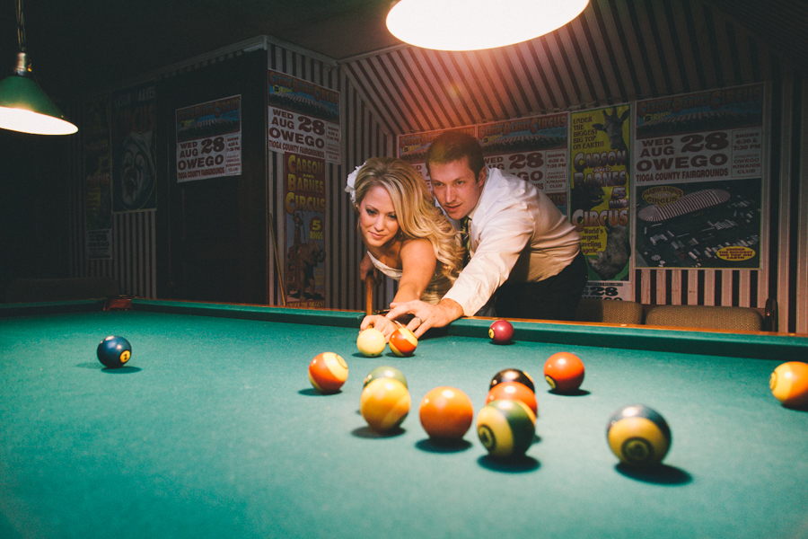Bride-Groom-Playing-Pool