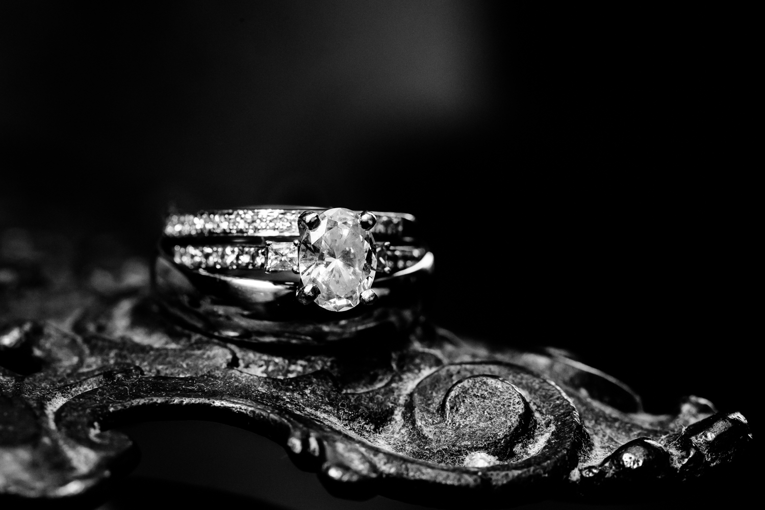 Diamond wedding ring macro shot