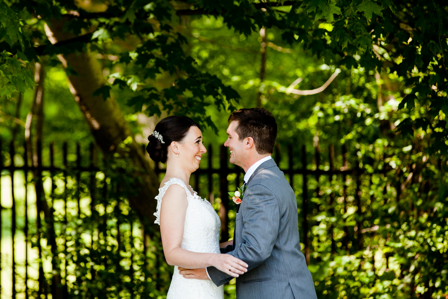 bride and groom see each other for the first time at Belhurst Castle in Geneva New York