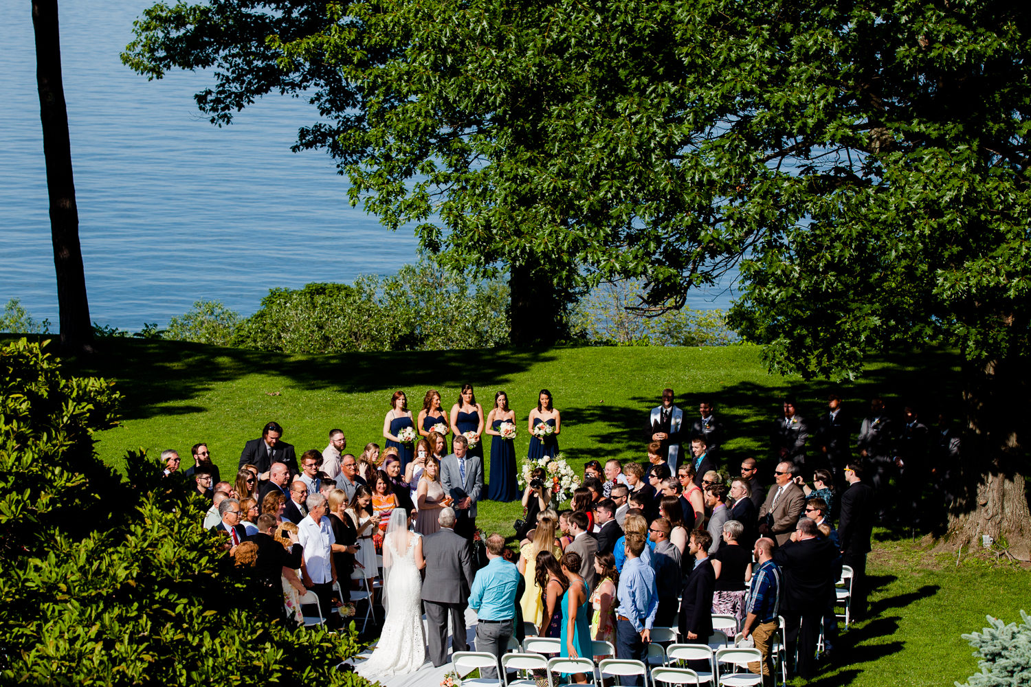 aerial view of bride walking down the aisle at Belhurst Castle