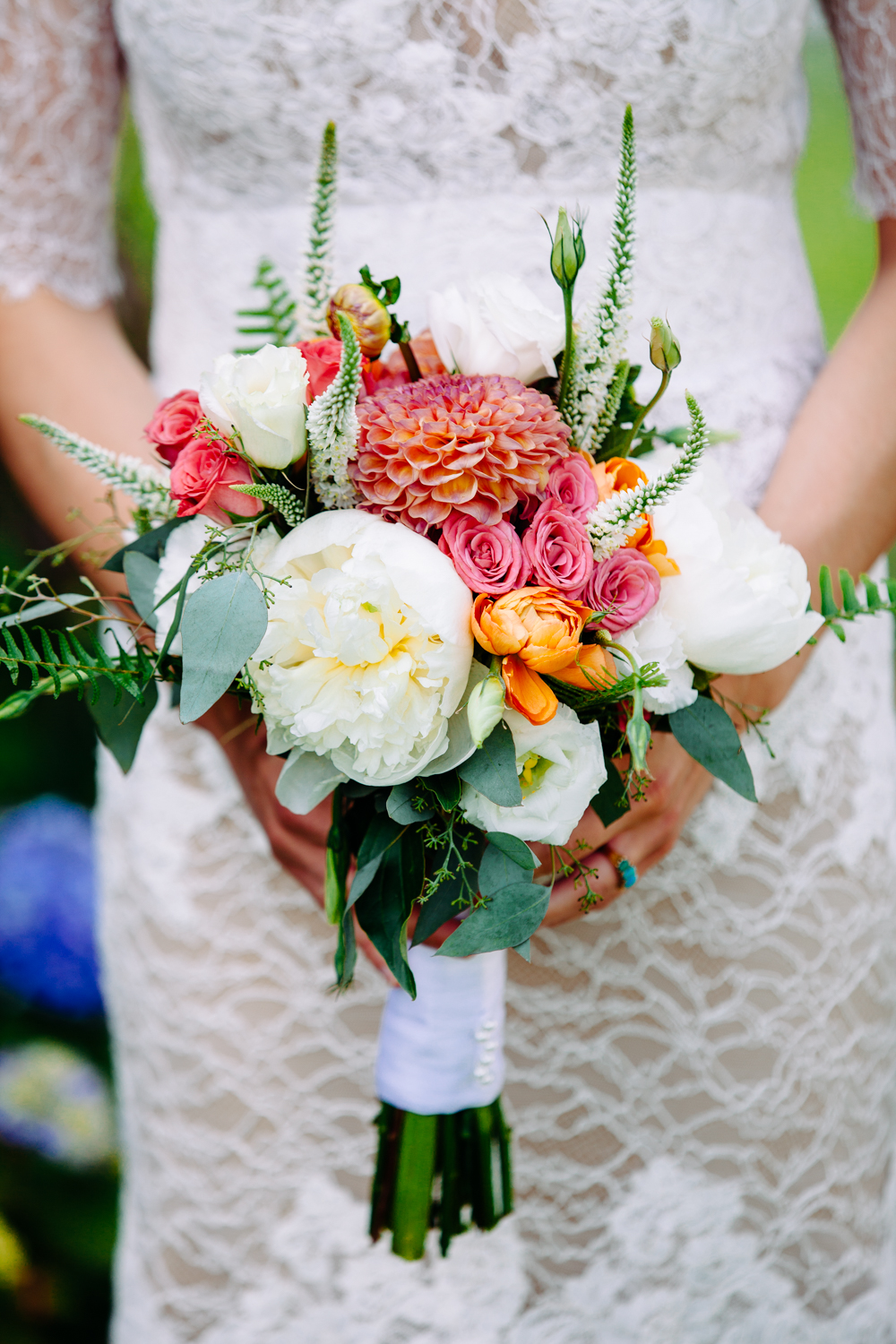 A close up of a brides flowers