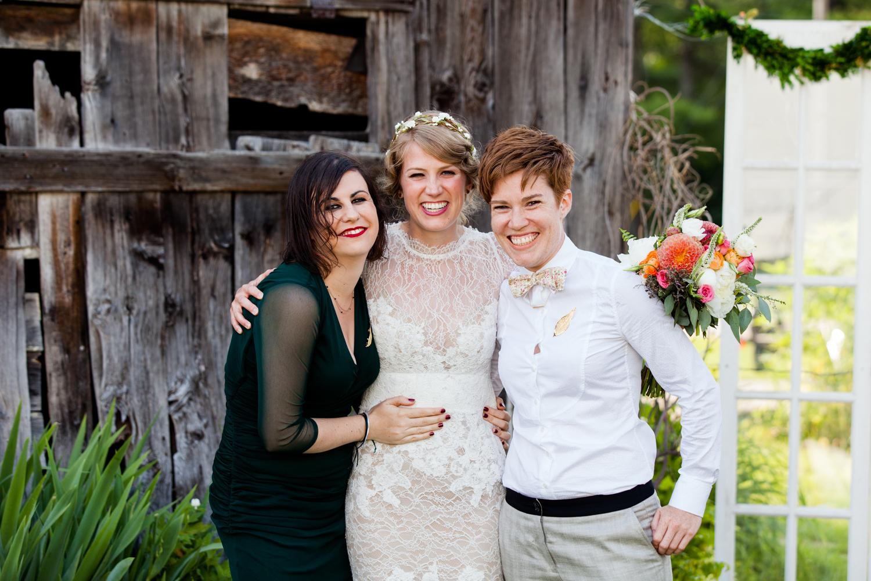 bride stands with groomswomen