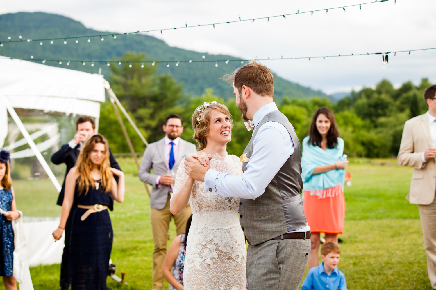 Bride and groom share a first dance