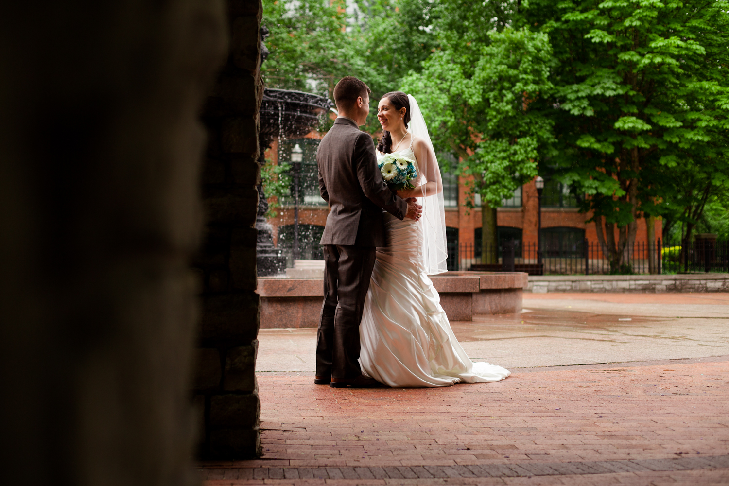 Bride and groom in Franklin Square, Syracuse NY.