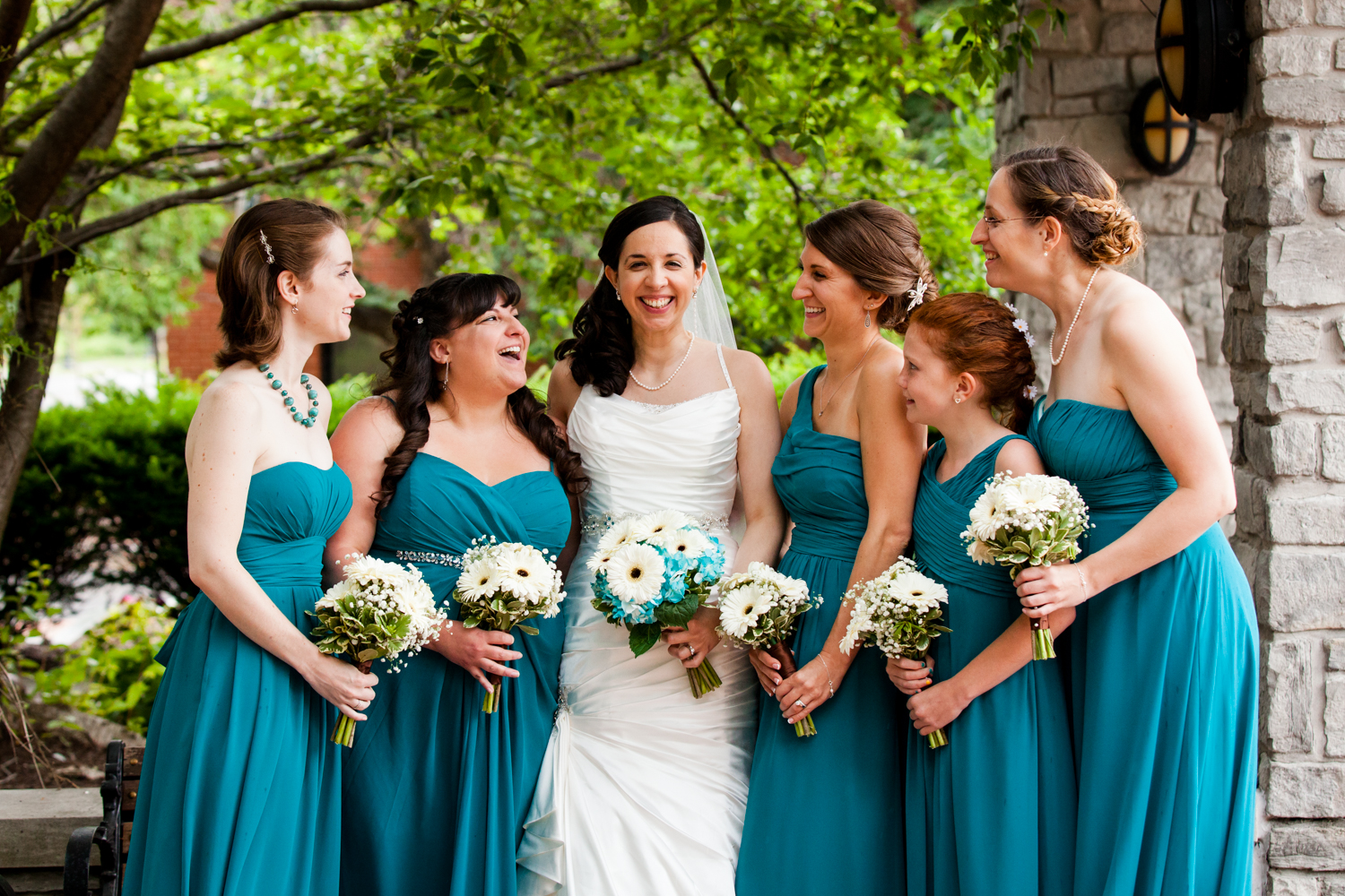 Bridesmaids laughing in Franklin Square.