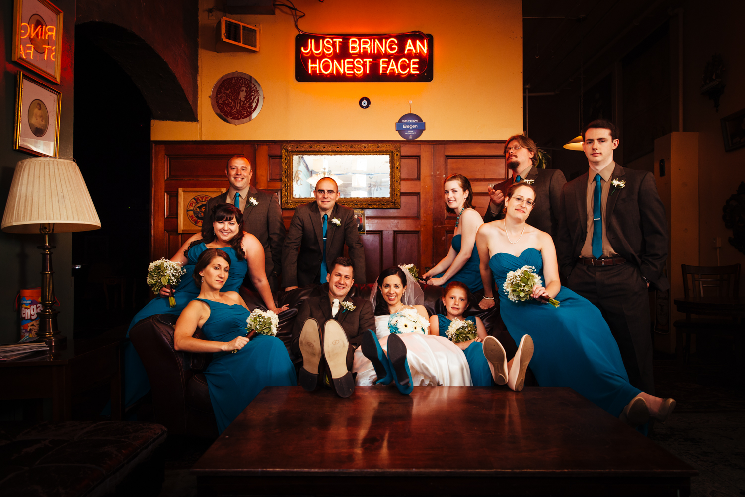 A casual bridal party photo at Al's Wine and Whiskey Lounge.