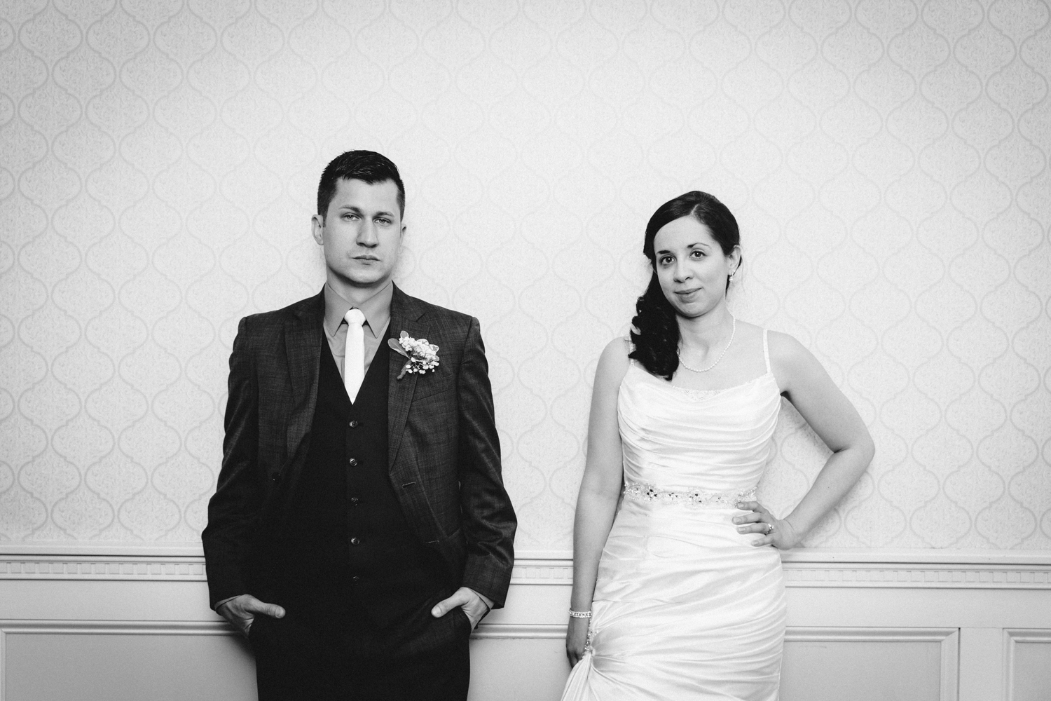 Serious bride and groom portrait