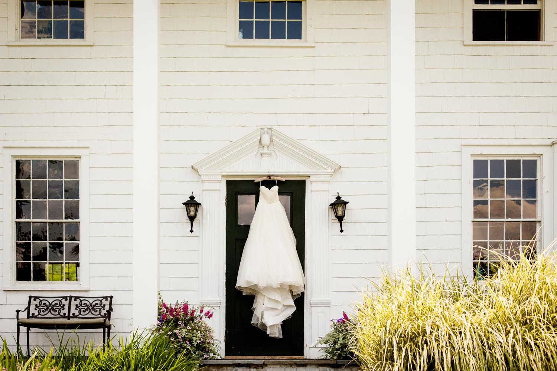 White bridal wedding gown