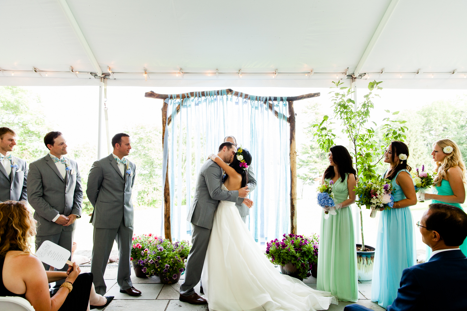 First kiss at the Fontainebleau Inn.  Syracuse wedding photographer.