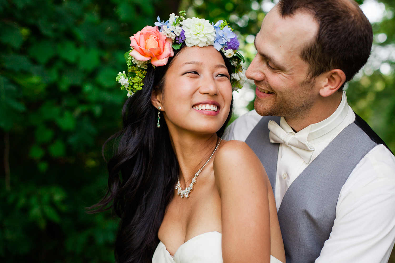 Beautiful bride with flower crown
