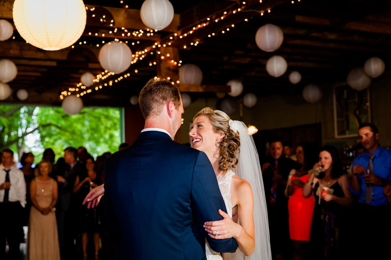 First dance at a barn wedding.