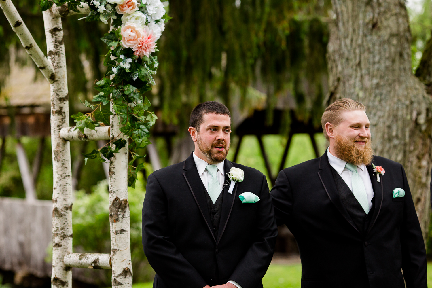 Groom waits for bride at the alter