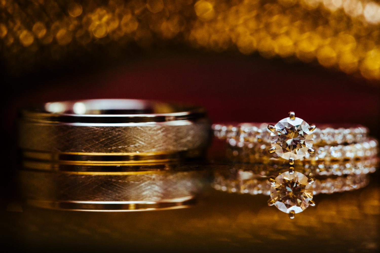 Up close image of diamond wedding rings.