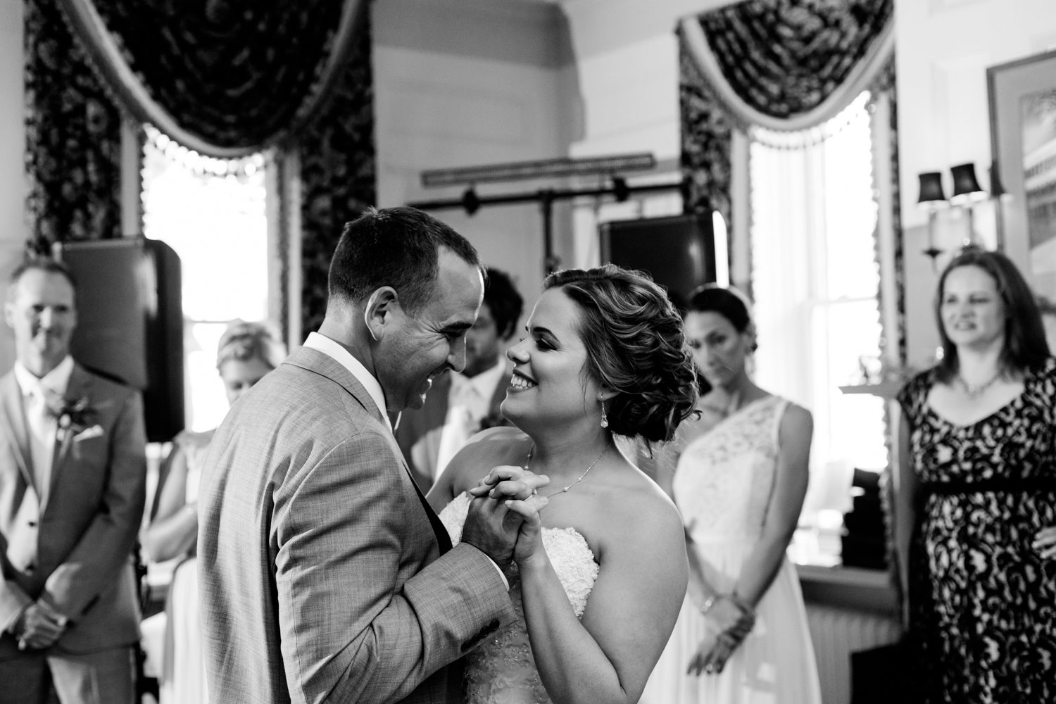 Black and white image of first dance.