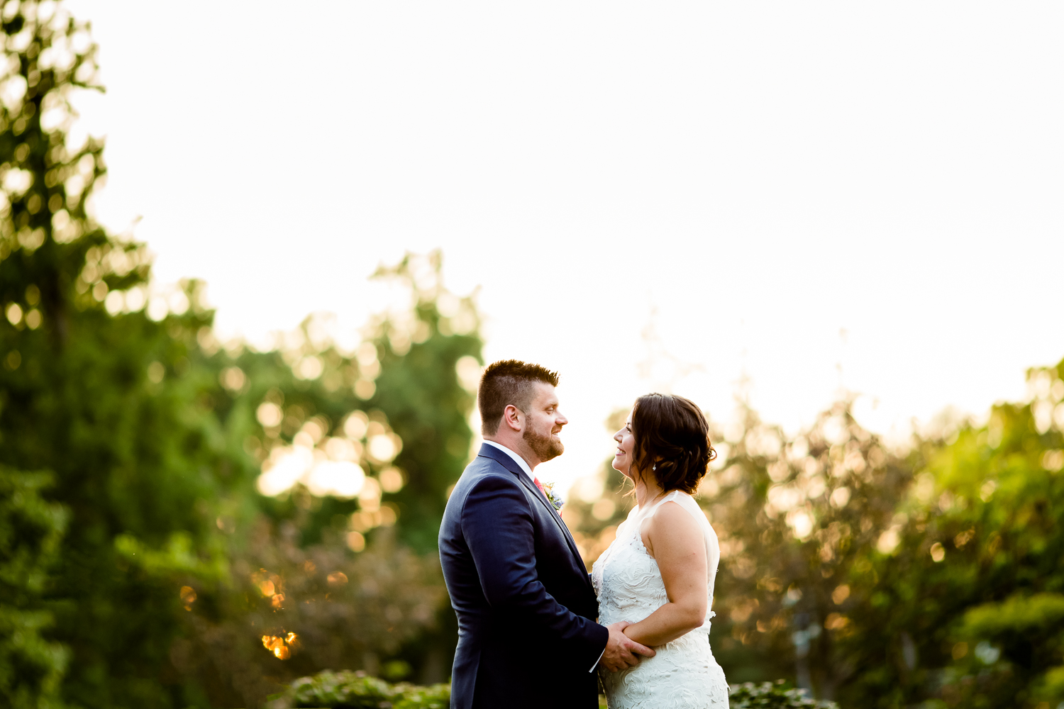 Belhurst Castle wedding photo at sunset.