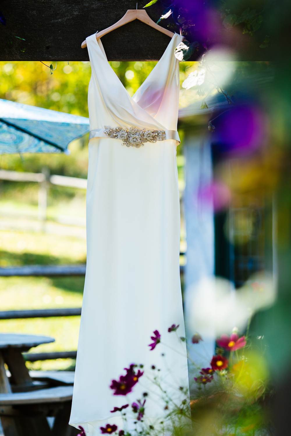 White wedding gown with beaded belt.