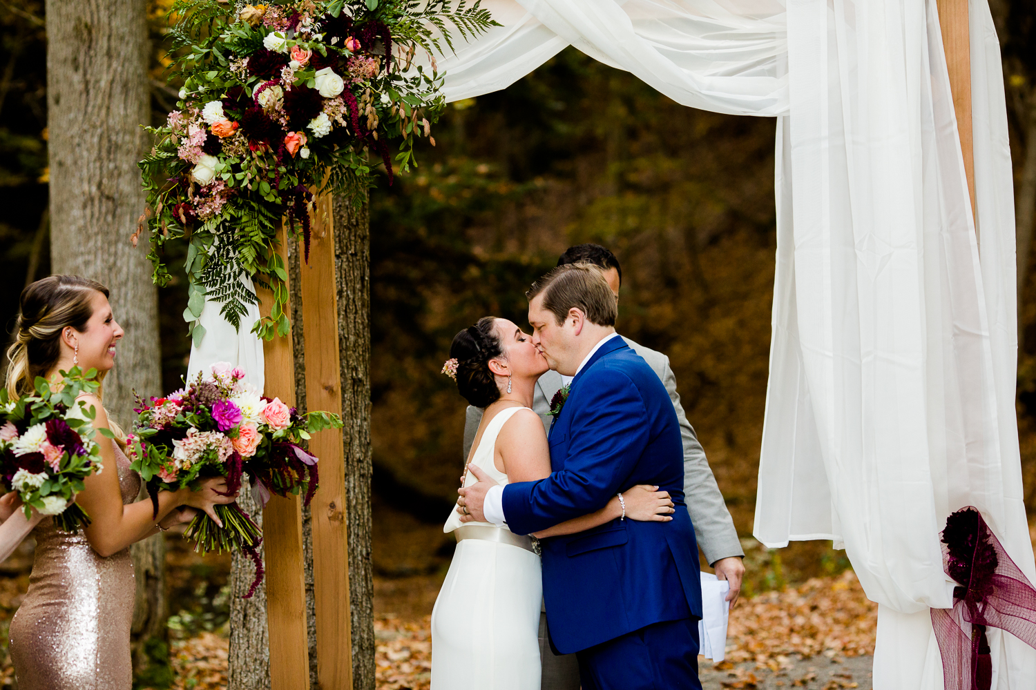 First Kiss at New Park Retreat in Ithaca, NY.