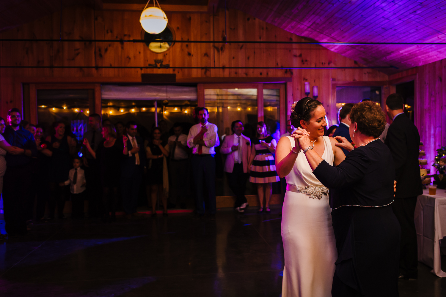 Bride and mother dance in Ithaca, New York.