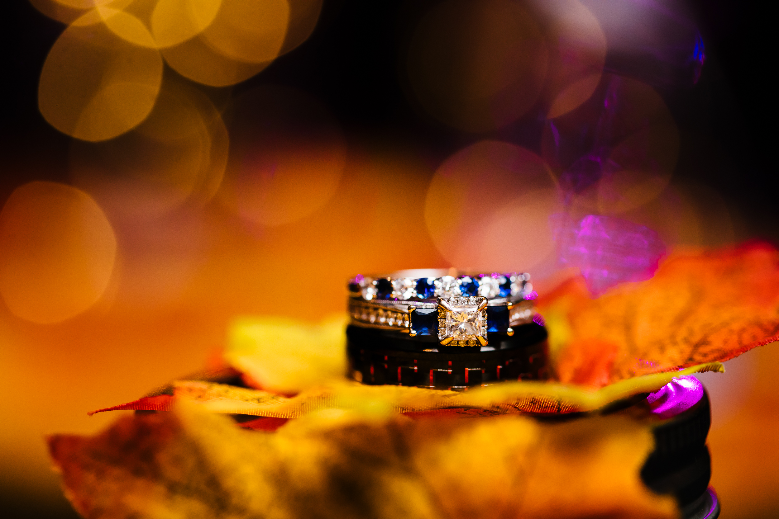 Sapphire and diamond wedding rings.