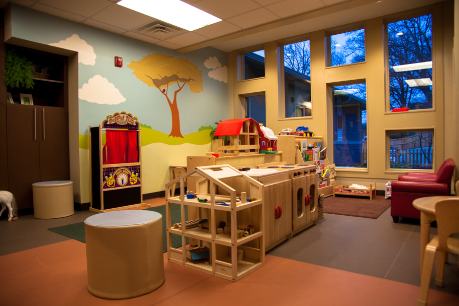 A beautiful new playroom for kids provides hours of fun!