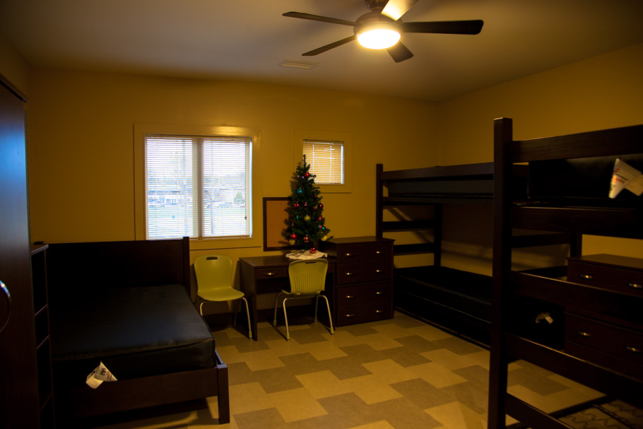 Safe Haven provides several different room sizes for family needs. This is a typical room, no-frills but modern, clean and neat.