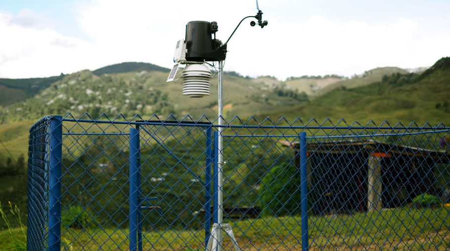 This device is used to collect and document weather data (wind speeds, amount of rainfall, etc.). With these records, farmers can make informed decisions concerning increasing plant growth (i.e. the eucalyptus trees planted due to windspeed).