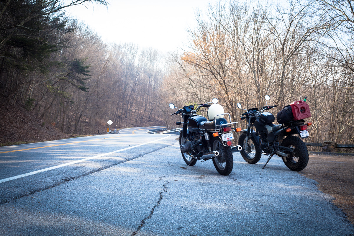 The unlikely odd couple we paired for our ride down, 1975 BMW R65 and Yamaha TW200. Take the long way, it's worth it! Here's our map: http://goo.gl/DMQ4DJ
