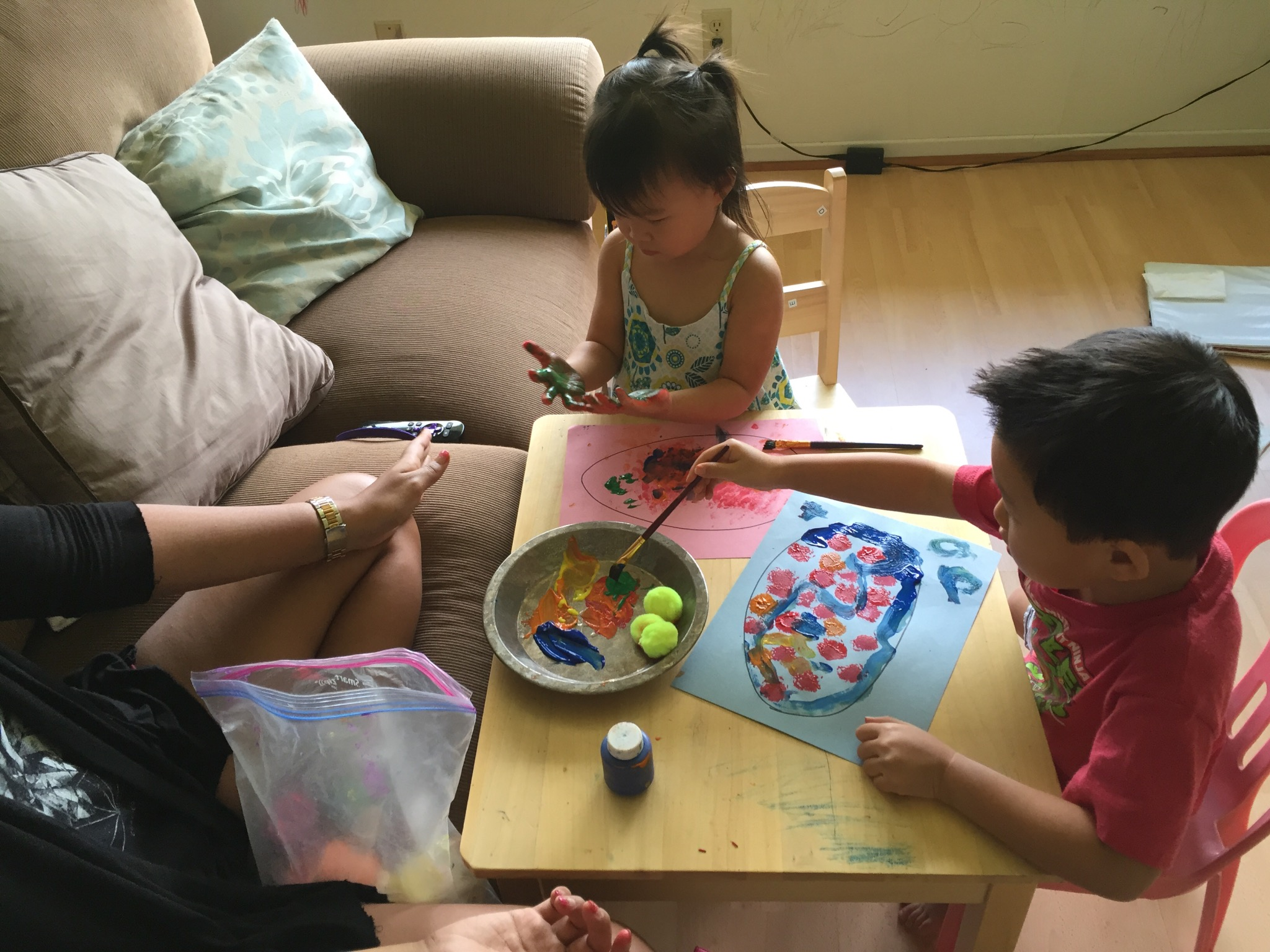Crafts and sensory activities all in one. If Joey wasn't at preschool he sometimes joined in!