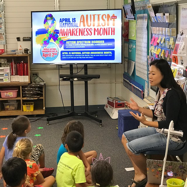 I had the privilege to speak to Kaitlyn's class @waialae for World Autism month! I got to share our story and show her class her artwork and things she loves doing. She sat there smiling the whole time. I am so grateful to her classmates for loving and accepting her for who she is. I don't know what her future holds but I believe she'll look back at her childhood and believe that people are capable of being kind and accepting. They loved sharing stories of how they love playing with her and watching her draw. It brought great joy to my heart. . . . . #autismpainting #autismawareness #autismawarenessmonth #autismmom #autismacceptance #autismparenting
