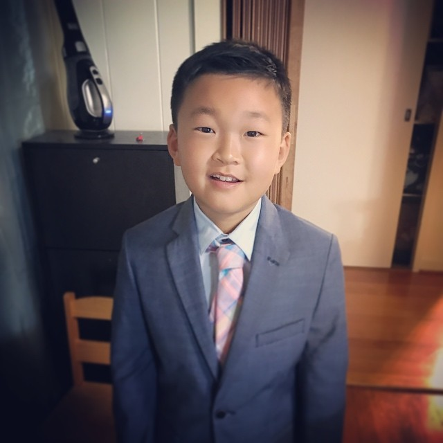My baby's giving a speech tomorrow! He was assigned to be Martin Luther King Jr. and he wrote memorized an autobiographical speech about him. He's super excited! Did a quick rehearsal before bed!