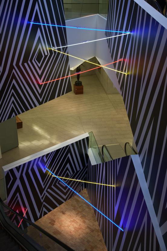Brook ANDREW  Marks and Witness: A lined crossing in Tribute to William Barak  2011 polyvinyl chrloride, neon, transformer National Gallery of Victoria, Melbourne Felton bequest 2011 Installation photograph courtesy of the National Gallery of Victoria & Tolarno Galleries