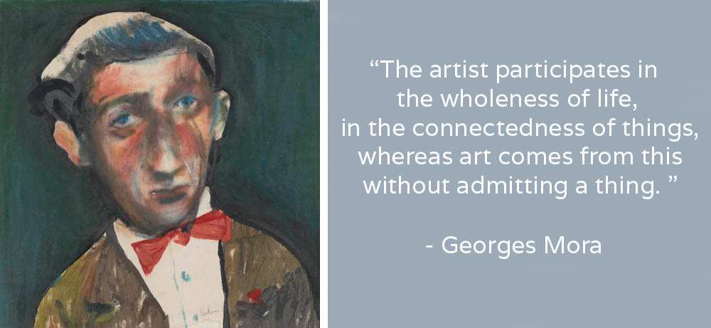 (LEFT) Charles BLACKMAN,  Portrait of Georges Mora , 1956 Oil on paper laid on board, 80 x 79 cm Collection of the National Portrait Gallery, Canberra Image courtesy of the artist