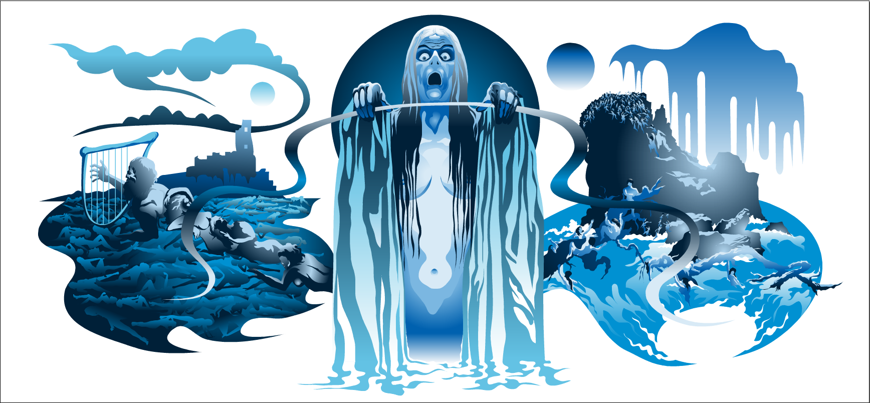 Philip Brophy,  The Lady in the Lake,  digital verctor mural print series, 2013