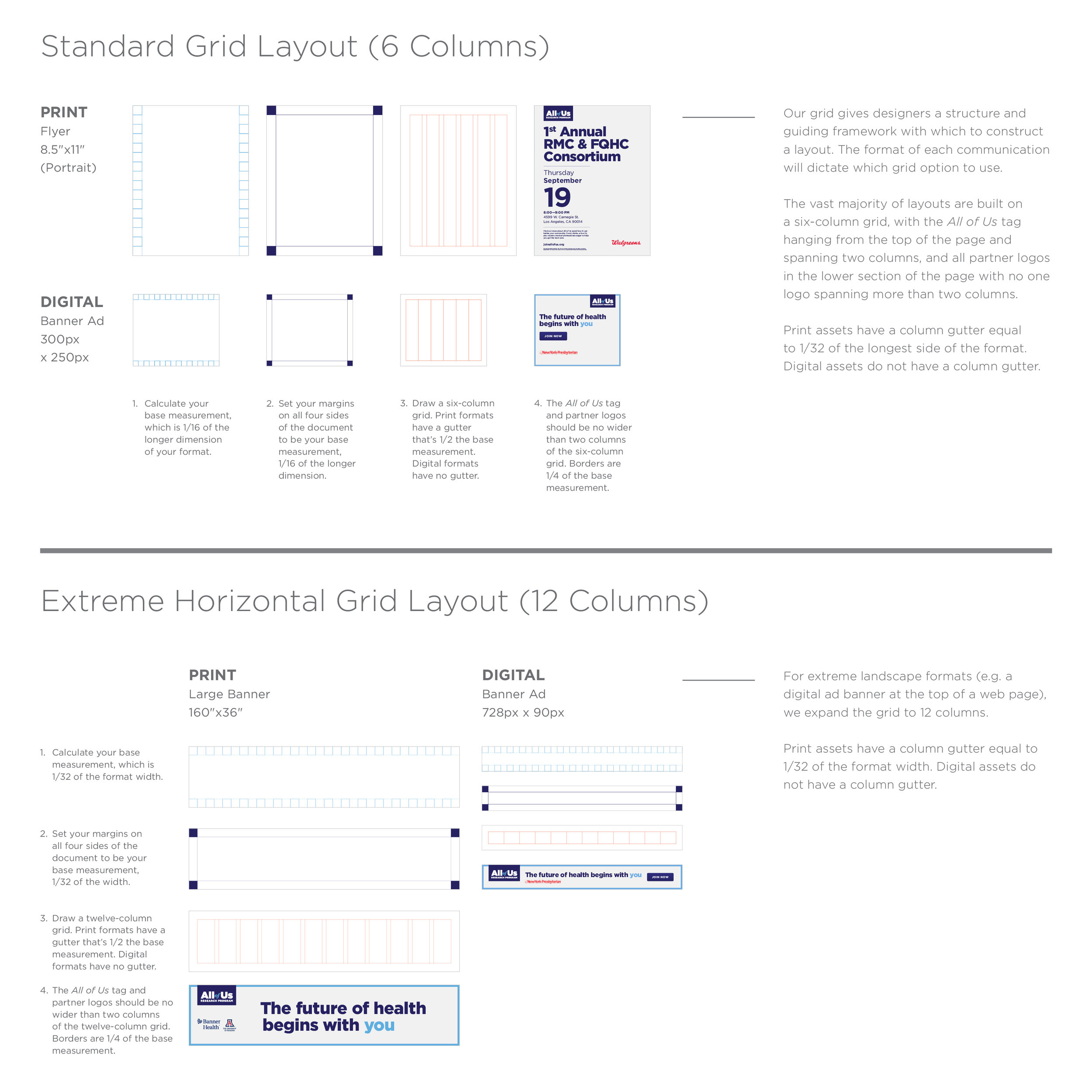 Excerpt from the style guide detailing the grid creation for co-branded assets.