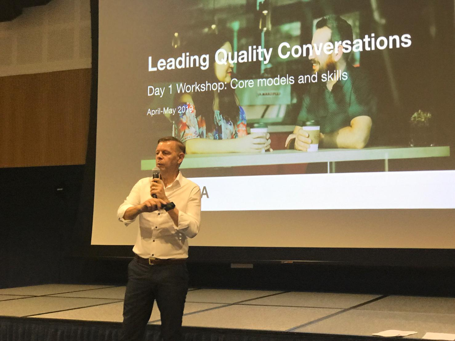 Presenting Leading Quality Conversations to a group of over 90 Early Years staff at AIS ELV, August 2019