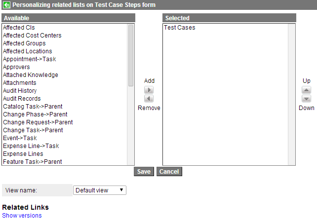 Personalize Related List (Test Case Steps)