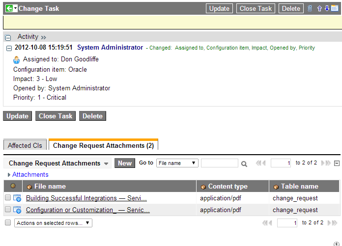 Attachments Related Lists — ServiceNow Elite