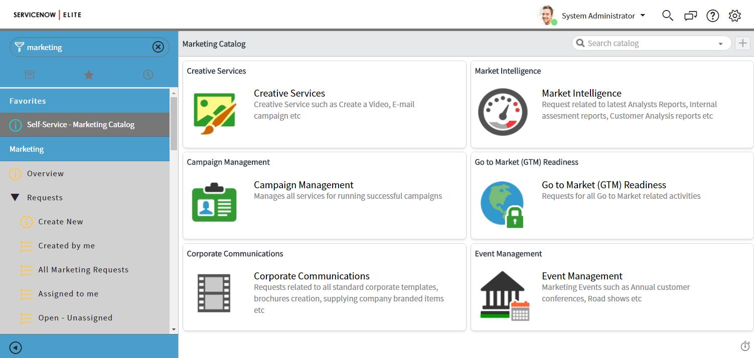 Marketing Service Catalog